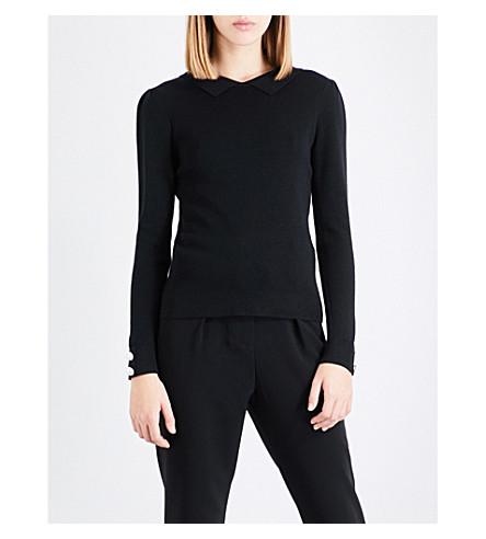 CLAUDIE PIERLOT Button-detailed ribbed wool-blend jumper (Noir