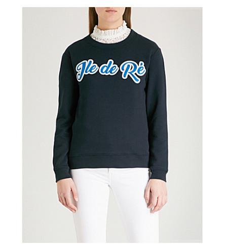 CLAUDIE PIERLOT Ile de Ré cotton-blend sweatshirt (Blue