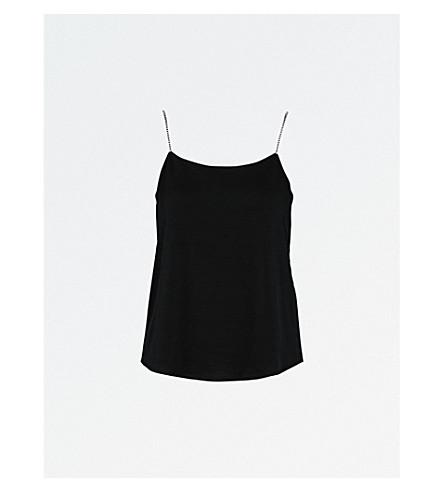 CLAUDIE PIERLOT Diamante-embellished sleeveless jersey top (Noir