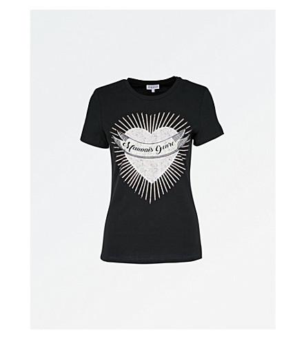 CLAUDIE PIERLOT Heart-print cotton-jersey T-shirt (Noir