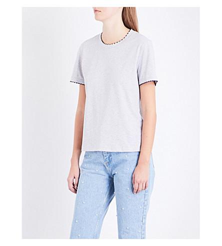 CLAUDIE PIERLOT Embroidered-trim cotton T-shirt (Gris