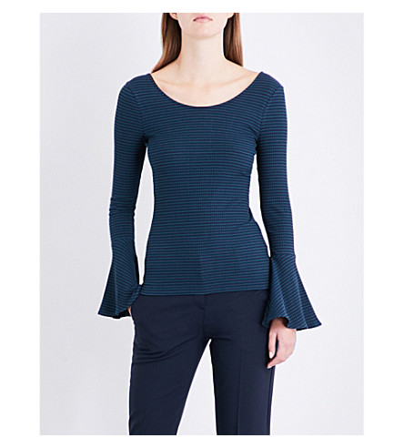CLAUDIE PIERLOT Flute-sleeve stretch-jersey top (Marine