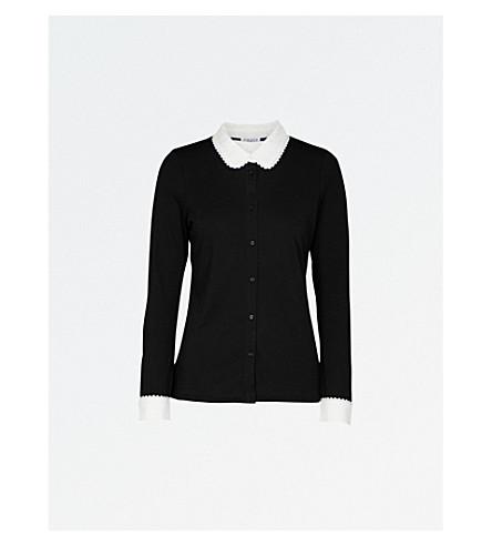 CLAUDIE PIERLOT Contrasting-collar jersey shirt (Noir