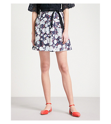 CLAUDIE PIERLOT Floral cotton skirt (Blue