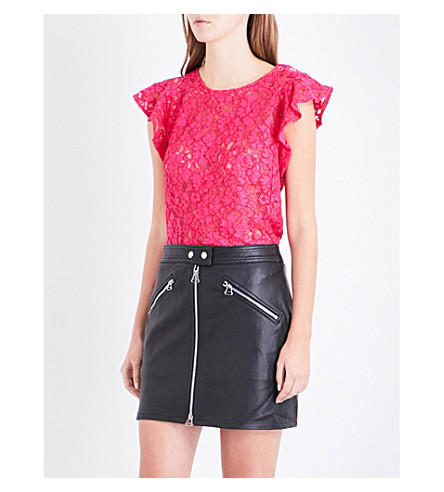CLAUDIE PIERLOT Flared-sleeve floral-lace cotton-blend top (Fushia