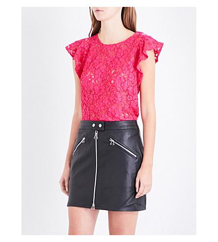 CLAUDIE PIERLOT Flared-sleeve floral-lace cotton-blend top (Fushia