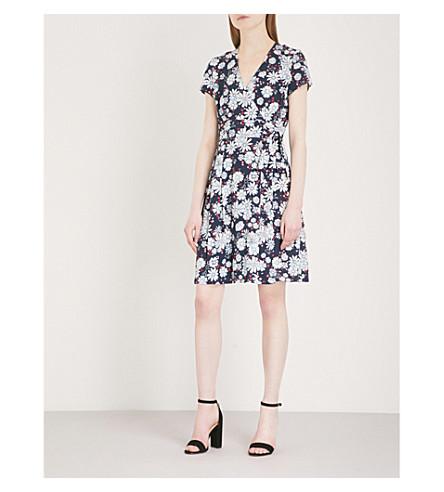 CLAUDIE crepé con Azul Vestido PIERLOT de floral estampado rt8zrfwx