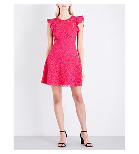 CLAUDIE PIERLOT Floral-lace fit-and-flare cotton-blend dress (Fushia