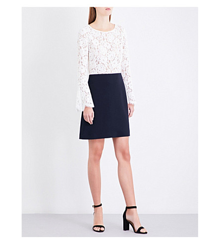 CLAUDIE PIERLOT Contrast lace and crepe dress (Ecru