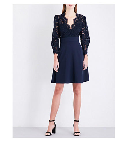 CLAUDIE PIERLOT Floral-embroidered lace and crepe dress (Petrol