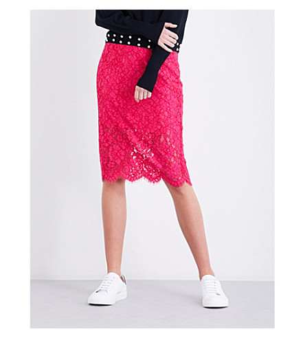 CLAUDIE PIERLOT High-rise floral-lace skirt (Fushia