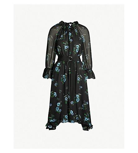 CLAUDIE PIERLOT Romilly floral-print ruffle-trim chiffon dress (Black