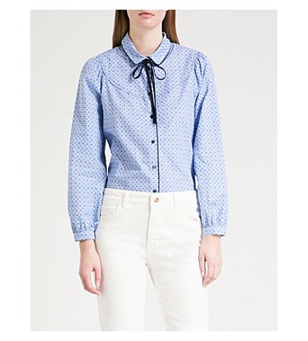 CLAUDIE PIERLOT Floral-print cotton-poplin shirt (Blue
