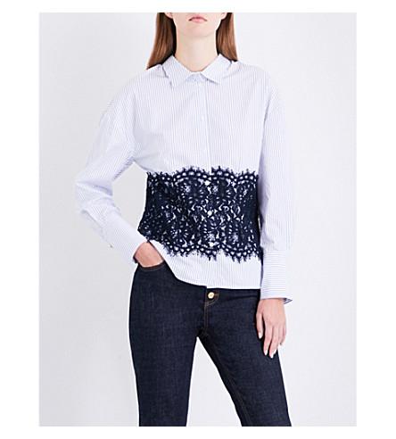 CLAUDIE PIERLOT Floral lace-overlay cotton-poplin shirt (Blanc