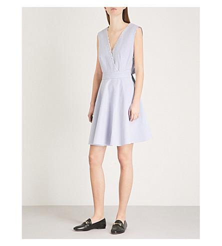 CLAUDIE PIERLOT Raleuse striped open-back cotton mini dress (Blue