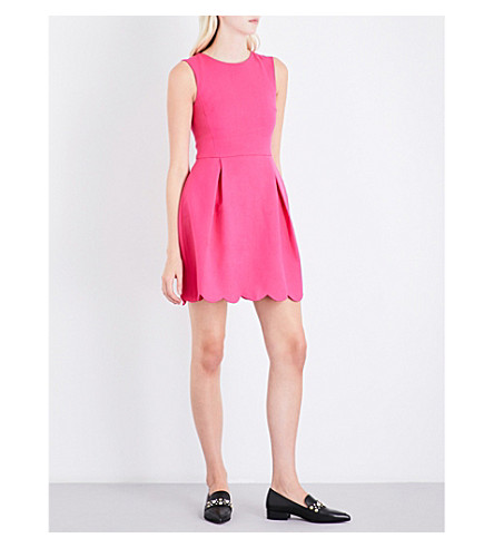 CLAUDIE PIERLOT Scallop-hem fit-and-flare crepe dress (Fushia