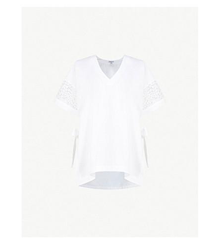 CLAUDIE PIERLOT Embroidered side-split cotton-poplin top (White