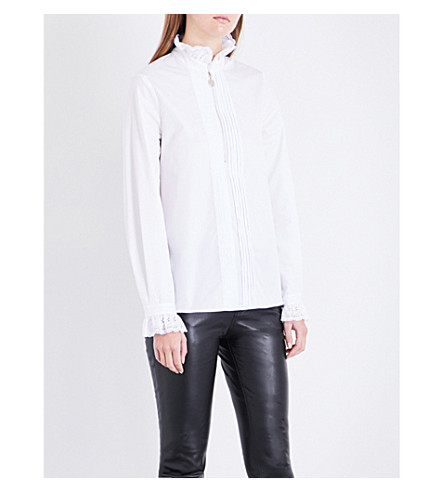 CLAUDIE PIERLOT Frilled-collar cotton-poplin shirt (Blanc