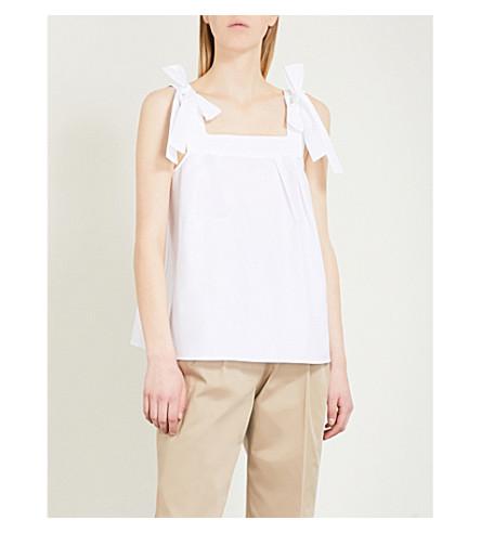 CLAUDIE PIERLOT Brave Bis bow-detail cotton-poplin top (White