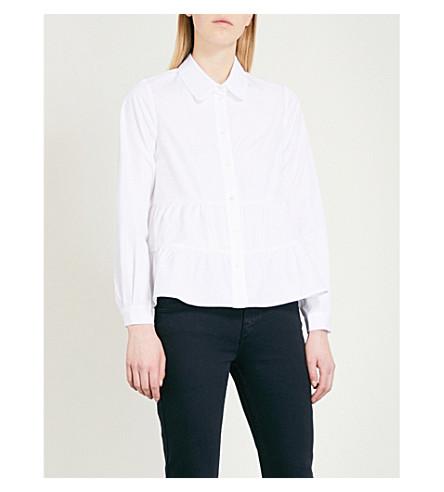 CLAUDIE PIERLOT Carly panelled cotton-poplin shirt (White