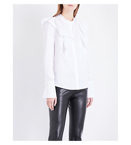 CLAUDIE PIERLOT Frilled-panel cotton-poplin shirt (Blanc