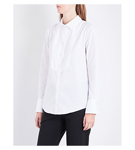 CLAUDIE PIERLOT Textured-bib cotton-poplin shirt (Blanc