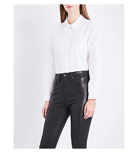 CLAUDIE PIERLOT Bead-embellished cotton-poplin shirt (Blanc
