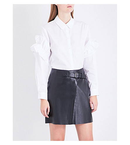 CLAUDIE PIERLOT Frilled-sleeve cotton-poplin shirt (Blanc