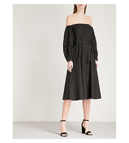 CLAUDIE PIERLOT Lace-detail off-the-shoulder cotton-poplin dress (Black