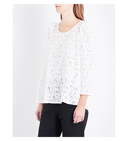 CLAUDIE PIERLOT Floral-embroidered lace top (Ecru
