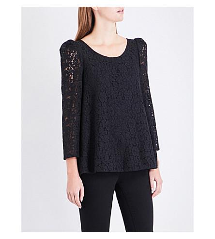 CLAUDIE PIERLOT Floral-embroidered lace top (Noir