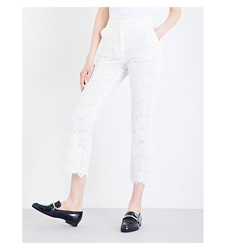 CLAUDIE PIERLOT Panama high-rise flared lace trousers (Ecru