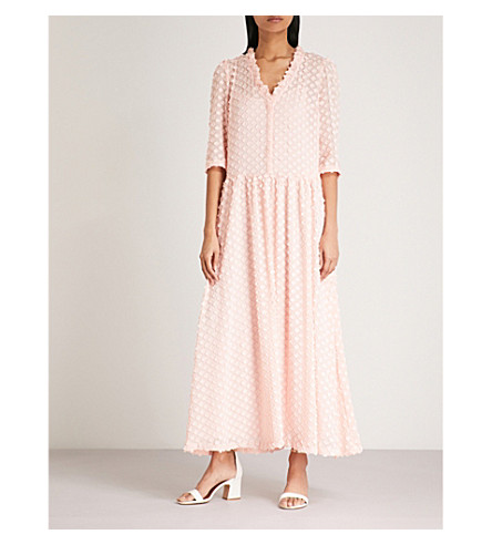 CLAUDIE PIERLOT Floral-embroidered midi dress (Pink