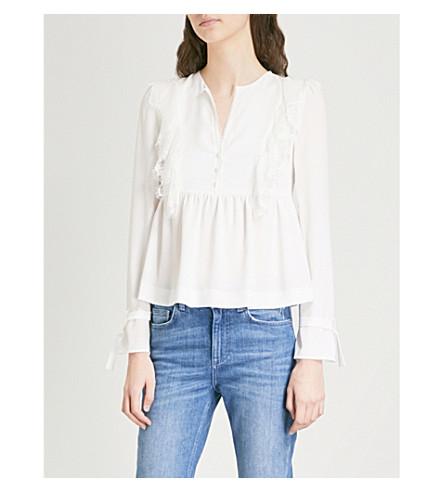 adornada PIERLOT con encaje Bella blusa Crema de crepé CLAUDIE XwzZqdAZ