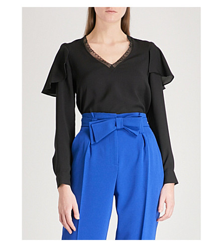 CLAUDIE PIERLOT Tiered-sleeve crepe top (Black