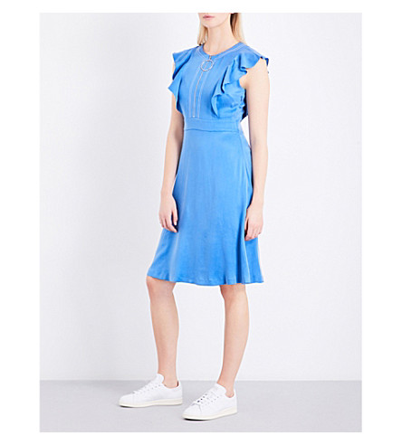 CLAUDIE PIERLOT Rivera ruffled crepe dress (Cyan