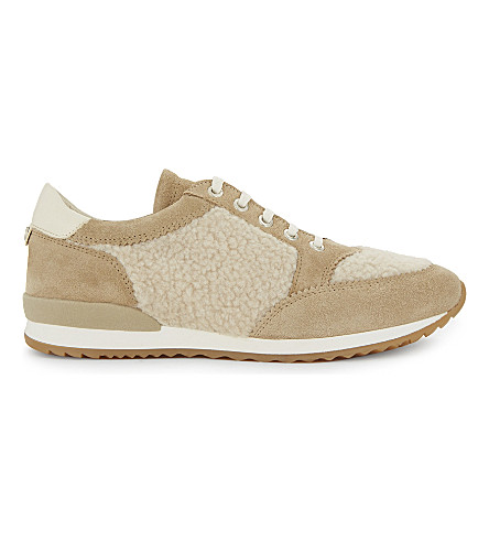 CLAUDIE PIERLOT Chaussure shearling and suede trainers (Beige