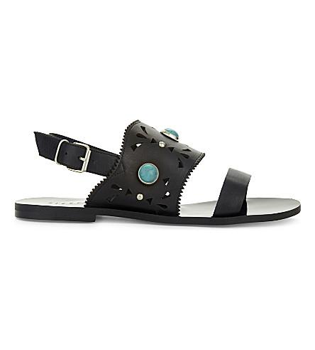 CLAUDIE PIERLOT 阿尔梅里亚皮革凉鞋 (黑色