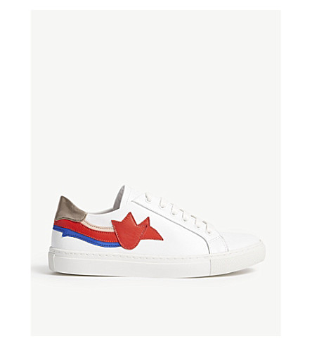 CLAUDIE PIERLOT Atulipe leather lace-up trainers (White