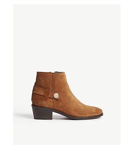 CLAUDIE PIERLOT Ailleurs 麂皮绒脚踝靴 (棕色