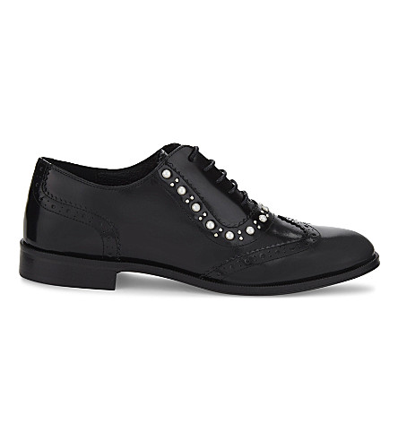 CLAUDIE PIERLOT Alexis pearl detail leather Oxfords (Noir