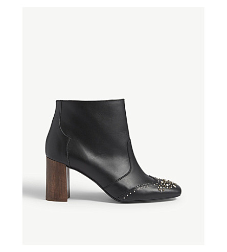 CLAUDIE PIERLOT Studded leather ankle boots (Black