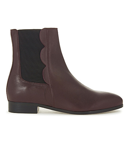 CLAUDIE PIERLOT Ancolie leather Chelsea boots (Bordeaux