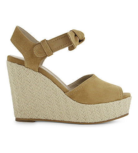 CLAUDIE PIERLOT Azya goatskin suede wedge sandals (Sable