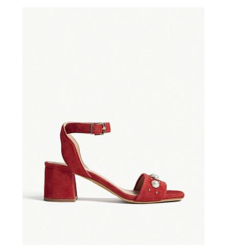 CLAUDIE PIERLOT 珍珠细节绒面革凉鞋 (红色