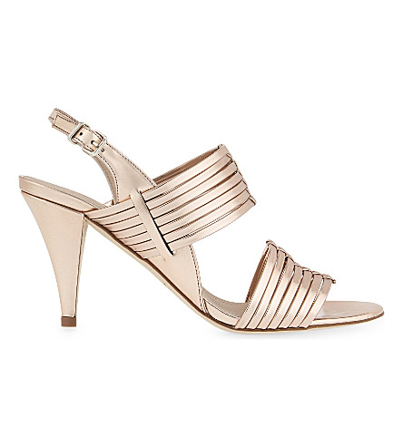 CLAUDIE PIERLOT Adelais metallic leather heeled sandals (Rose