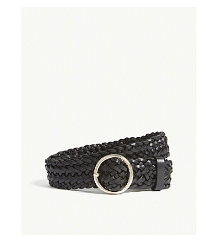 CLAUDIE PIERLOT Braided leather belt (Black