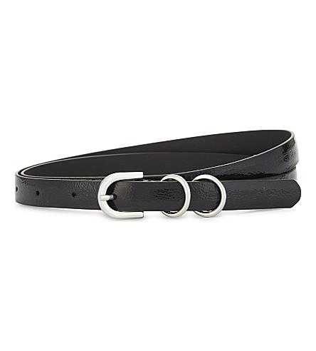 CLAUDIE PIERLOT Patent skinny belt (Noir