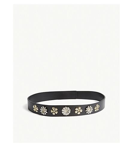 CLAUDIE PIERLOT Andy floral-stud leather belt (Black