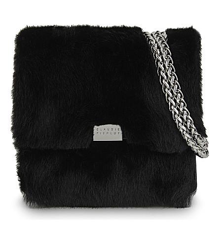 CLAUDIE PIERLOT Angela small fur cross-body bag (Noir